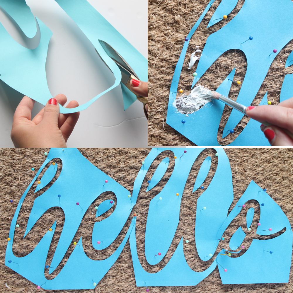 Learn how to make this sweet scalloped edge doormat, complete with silhouette stencils for easy painting | Squirrelly Minds