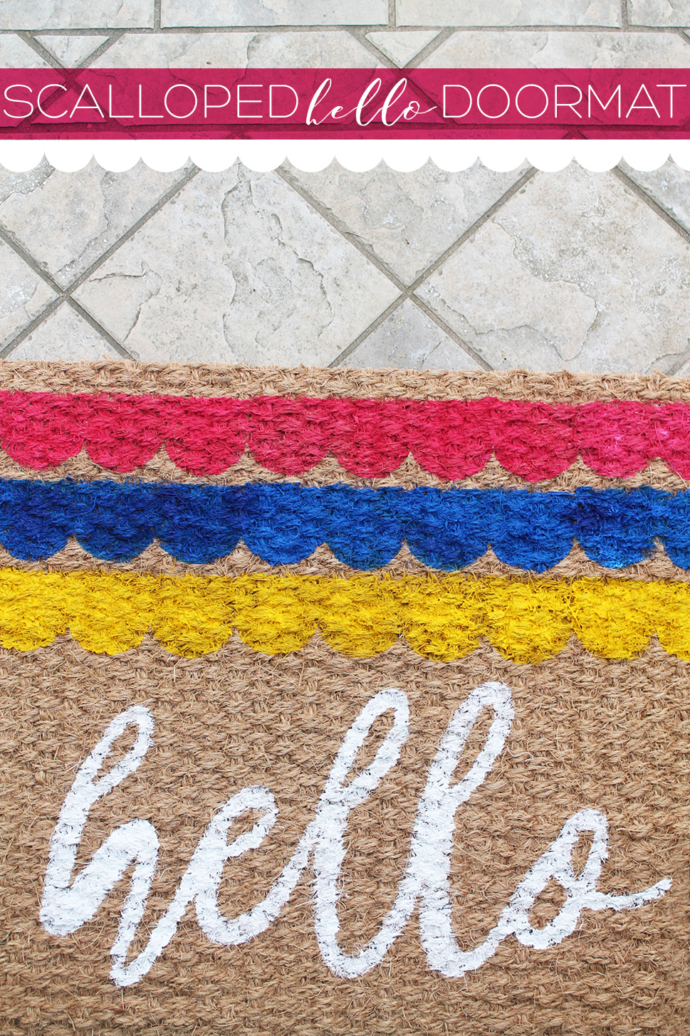 Greet your guests with this sweet scalloped 'hello' doormat. Grab the DIY and silhouette stencil downloads here at Squirrelly Minds