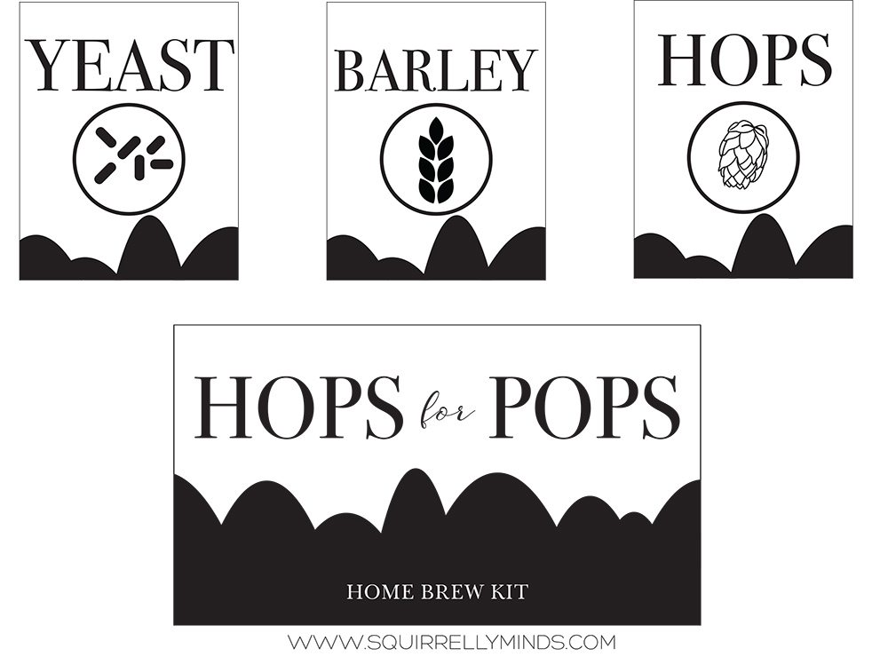 Download and print these labels to make a homebrew kit for dad this father's day   Squirrelly Minds