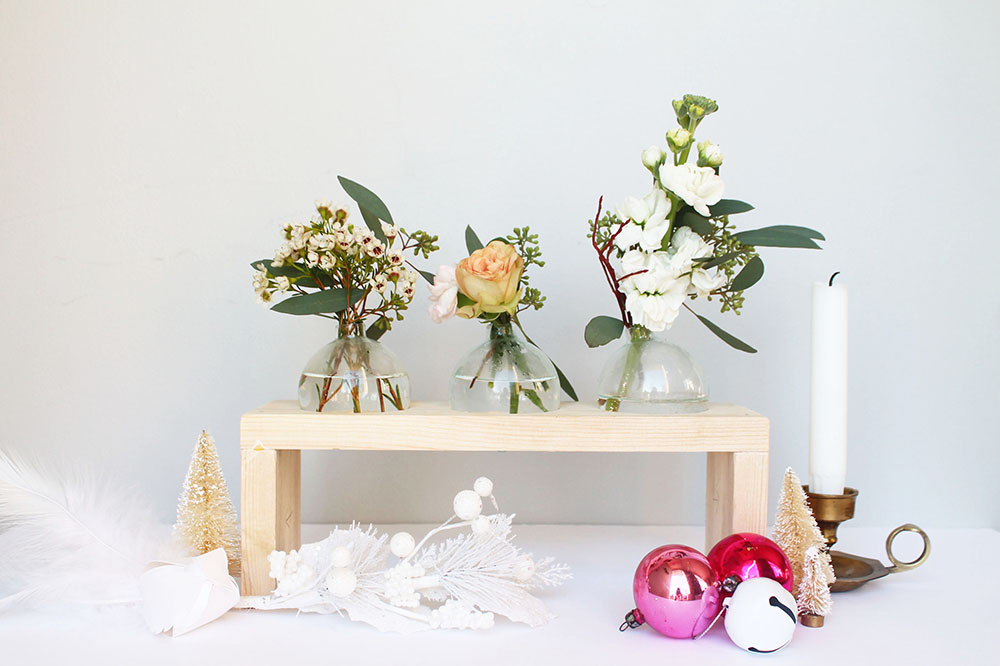 How To Make A Modern Bud Vase With Glass Christmas Ornaments