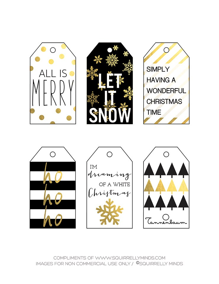Free Printable Black, White and Gold Christmas Gift Tags ...