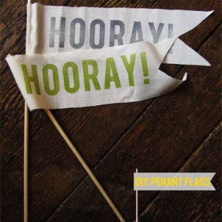 DIY Hooray Pennant Flags with free stencil