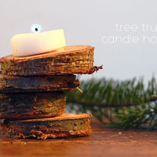 Christmas tree trunk candle holders