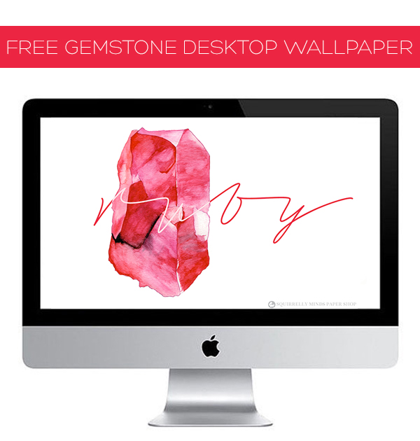 Download | Free Watercolour Ruby Desktop Wallpaper