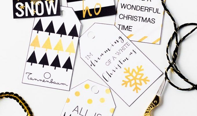 Free Printable Black, White and Gold Christmas Gift Tags