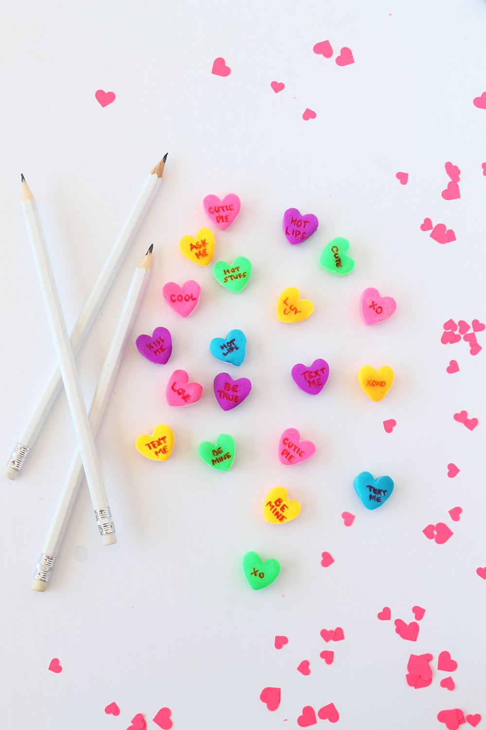 DIY conversation heart erasers | Squirrelly Minds