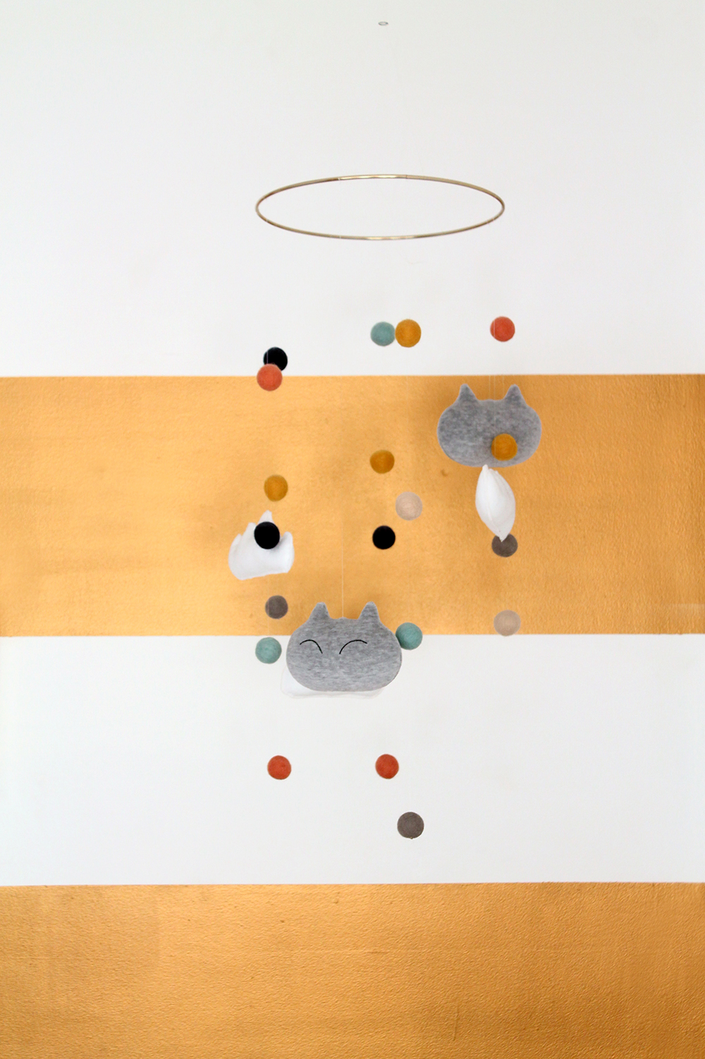 DIY Plush Kitties and Clouds Nursery Mobile | Squirrelly Minds