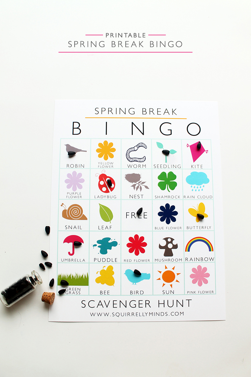 Keep the kiddos entertained this spring break with this printable bingo scavenger hunt | Squirrelly Minds