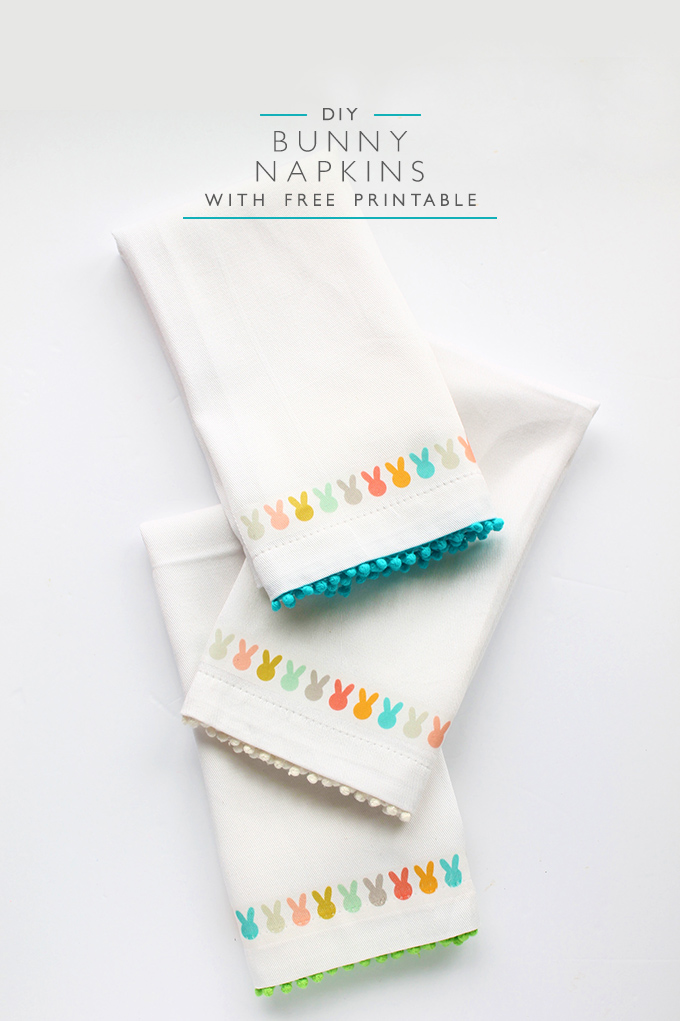 DIY Easter Bunny Napkins with Free Printable | Squirrelly Minds