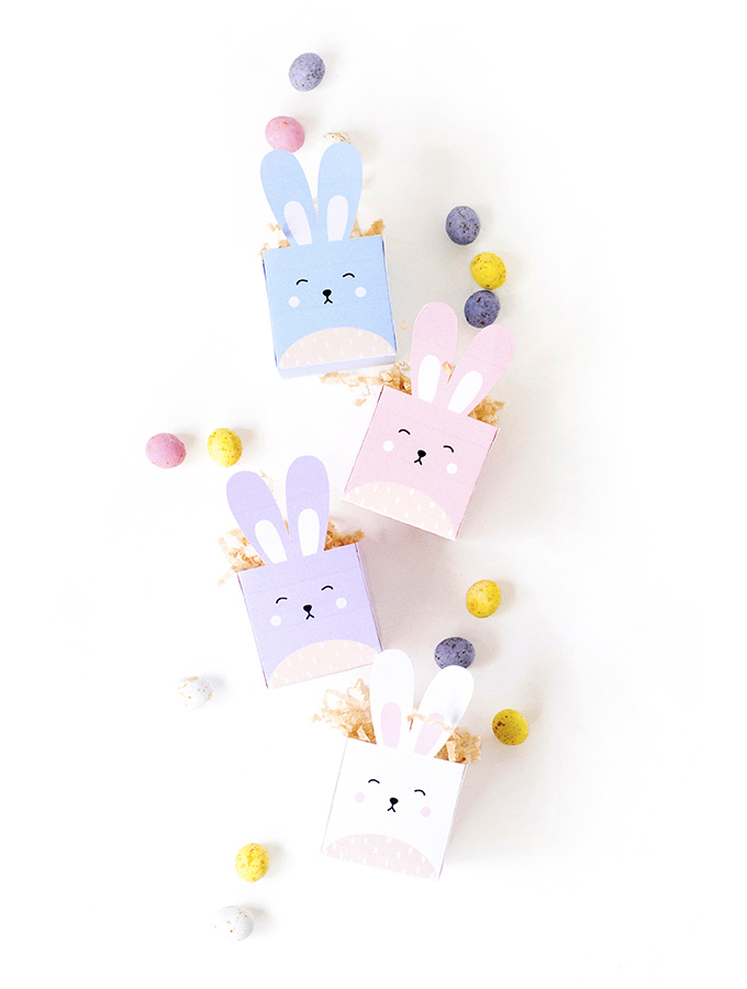 Top 20 Easter Projects of 2017 - Printable Bunny Boxes by Make and Tell | Squirrelly Minds