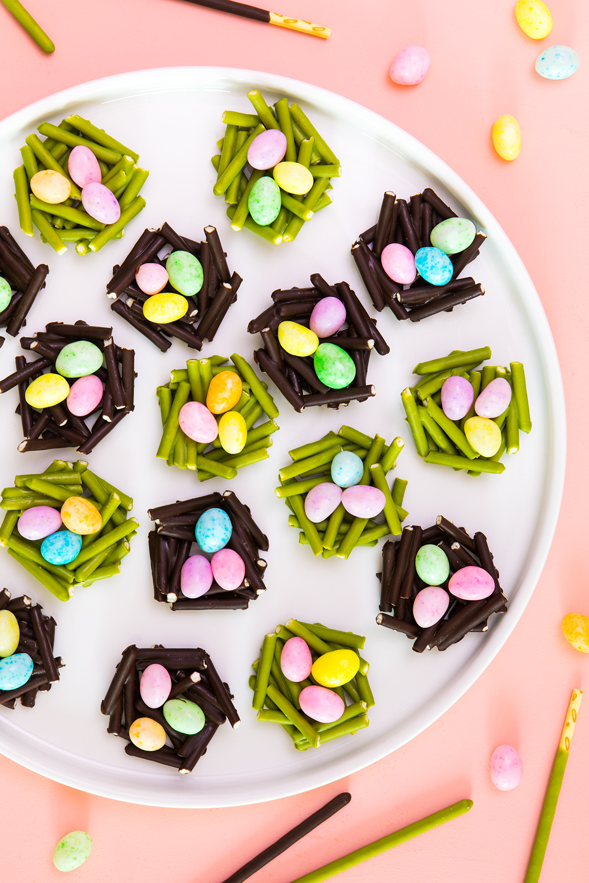 Top 20 Easter Projects of 2017 - Pocky Easter Nest Treats by Sarah Hearts | Squirrelly Minds