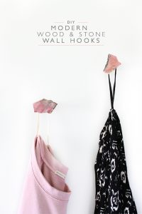DIY Modern Wood and Stone Wall Hooks | Squirrelly Minds
