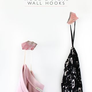 DIY Modern Wood and Stone Wall Hooks