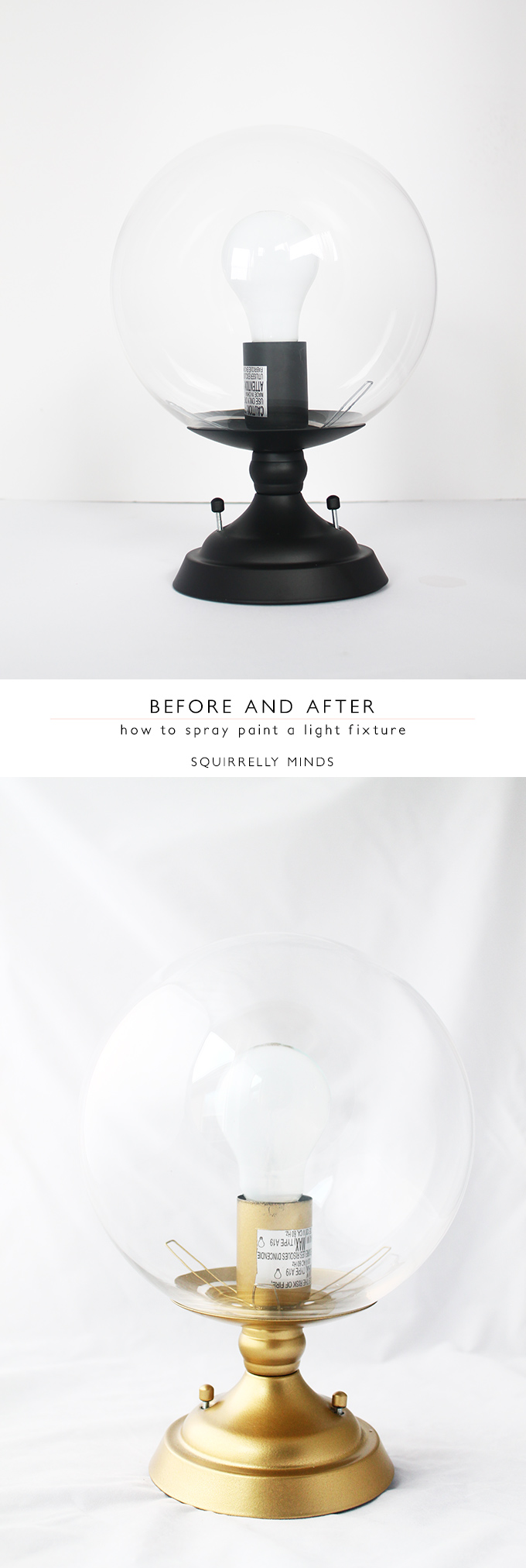 How to Spray Paint a Light Fixture | Squirrelly Minds