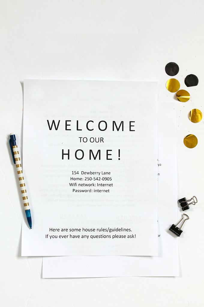 Printable and Editable House Rules for International Students and Guests | Squirrelly Minds