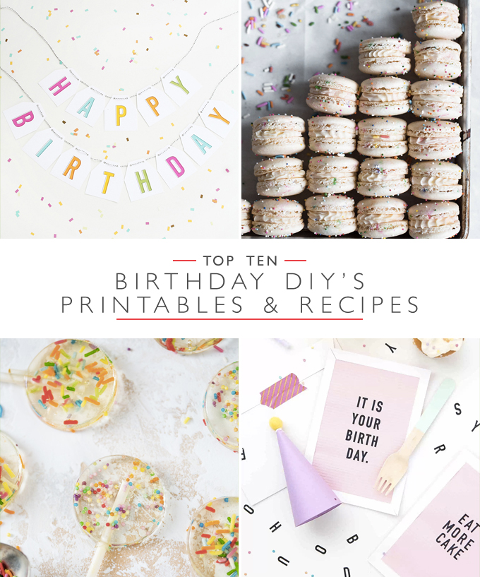 Top ten birthday DIY's, Printables and Recipes | Squirrelly Minds