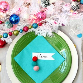 diy felt ball ornament place cards
