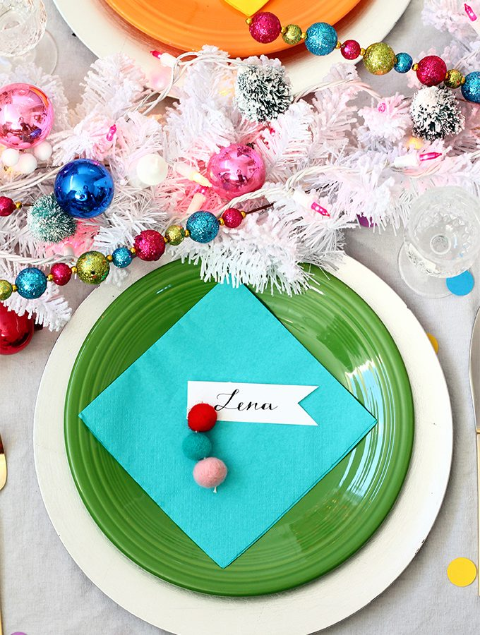 DIY Felt Ball Ornament Place Cards | Squirrelly Minds