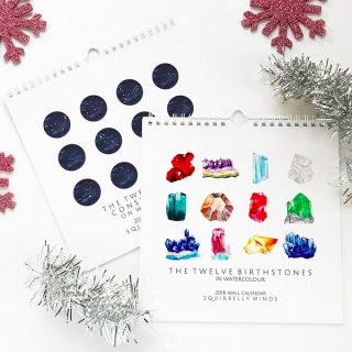2018 Watercolor Birthstone and Zodiac Constellation Calendars