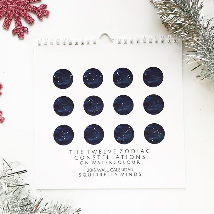 2018 Watercolor Birthstone and Zodiac Constellation Calendars are now in the shop!