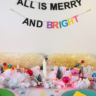 Colourful Christmas Tablescape and Free Banner Download