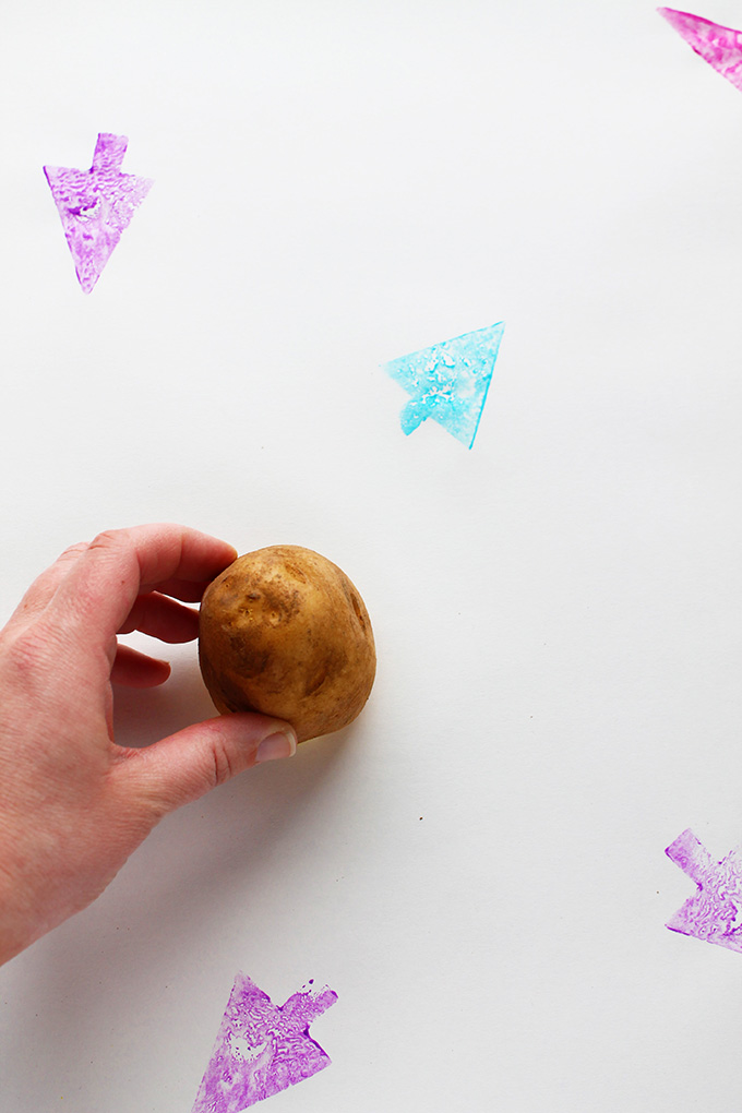 DIY Potato Stamped Wrapping Paper | Squirrelly Minds