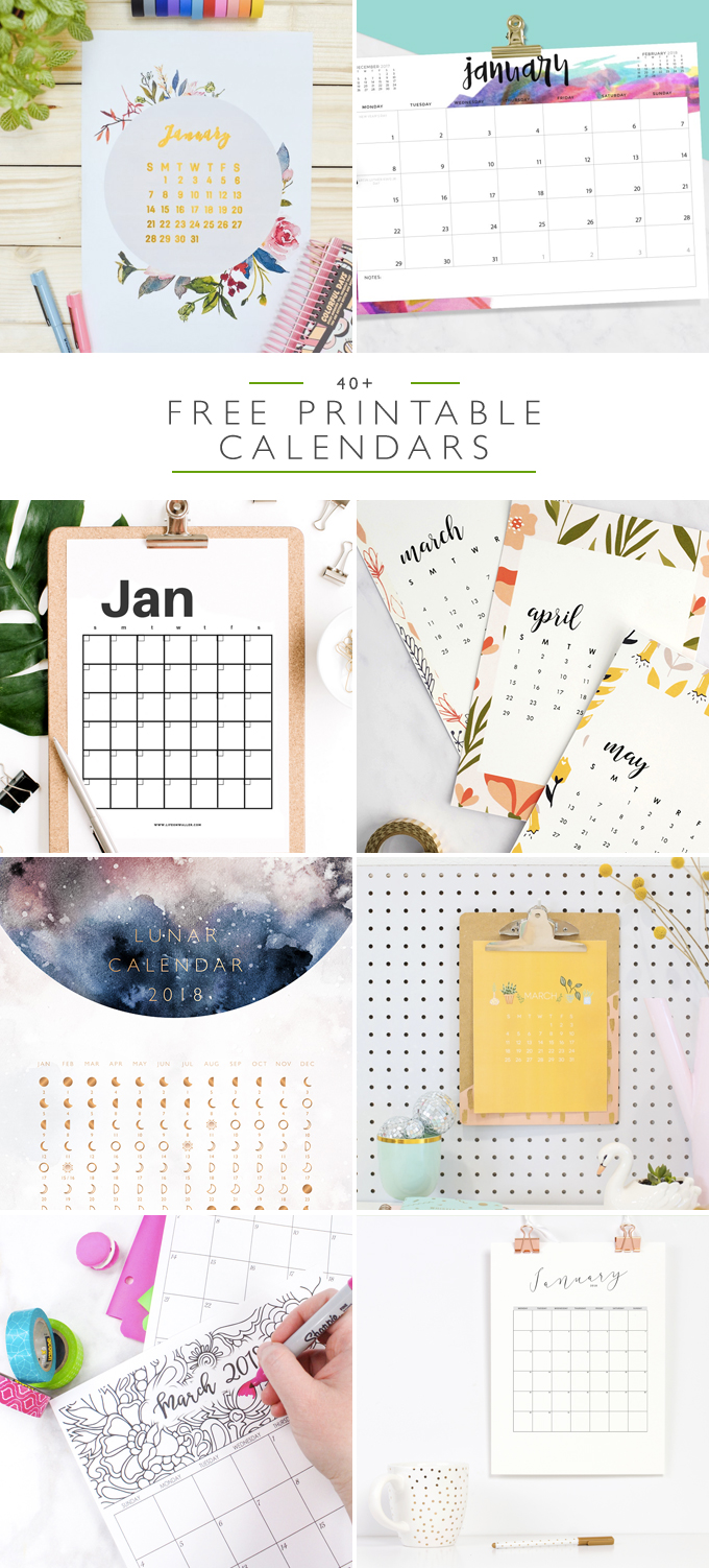 40+ Free Printable 2018 Calendars | Squirrelly Minds