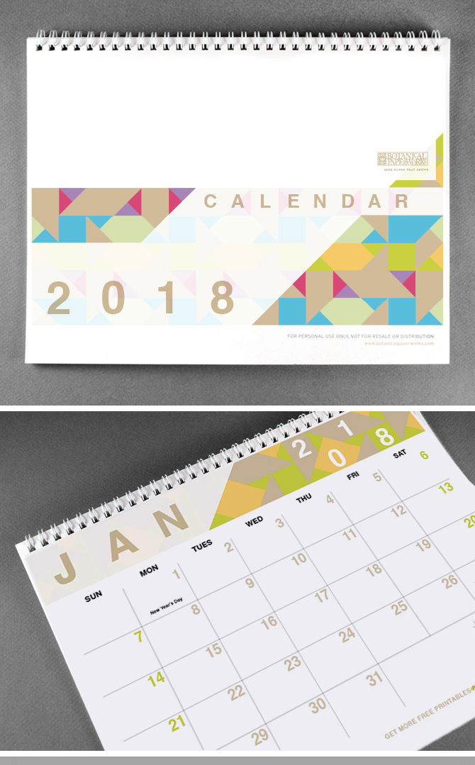 40+ Free Printable 2018 Calendars | Squirrelly Minds - Photo by Botanical Paperworks