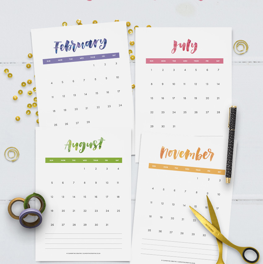 40+ Free Printable 2018 Calendars | Squirrelly Minds - Photo by Creative Clementine