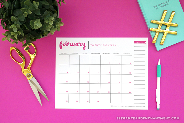 40+ Free Printable 2018 Calendars | Squirrelly Minds - Photo by Elegance and Enchantment