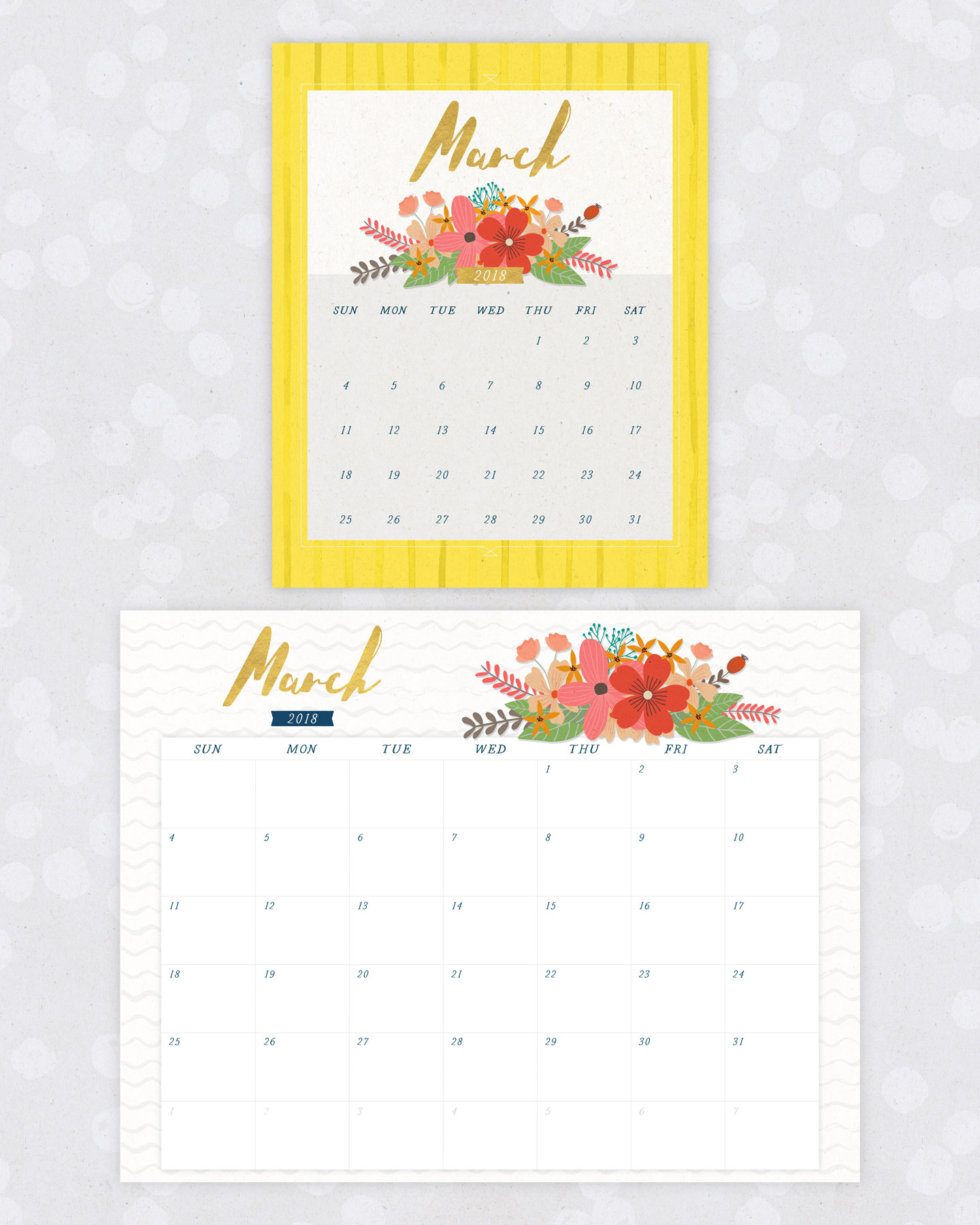 40+ Free Printable 2018 Calendars | Squirrelly Minds - Photo by FTD by Design
