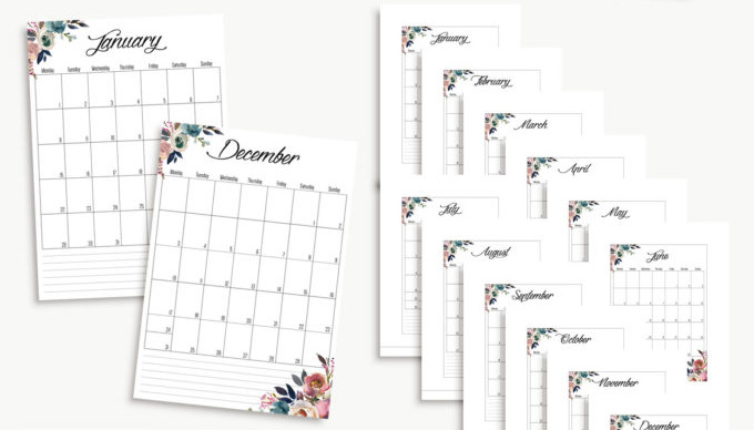 40+ Free Printable 2018 Calendars | Squirrelly Minds - Photo by Hanna Nilsson Design
