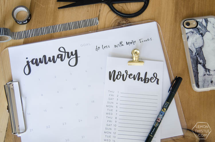 40+ Free Printable 2018 Calendars | Squirrelly Minds - Photo by Lemon Thistle