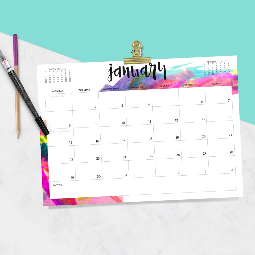 40+ Free Printable 2018 Calendars | Squirrelly Minds - Photo by Oh So Lovely Blog