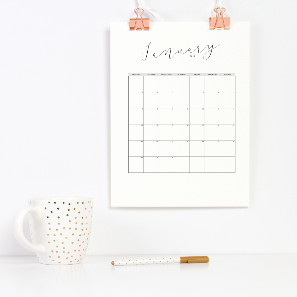 40+ Free Printable 2018 Calendars | Squirrelly Minds - Photo by Paper Scribbles Co