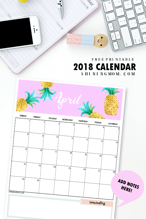 40+ Free Printable 2018 Calendars | Squirrelly Minds - Photo by Shining Mom