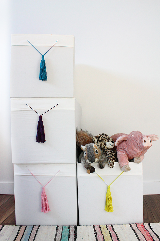 Ikea Hack Drona Boxes With Tassels Squirrelly Minds