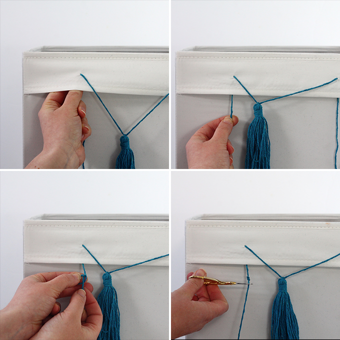 IKEA Hack - Drona Boxes with Tassels | Squirrelly Minds