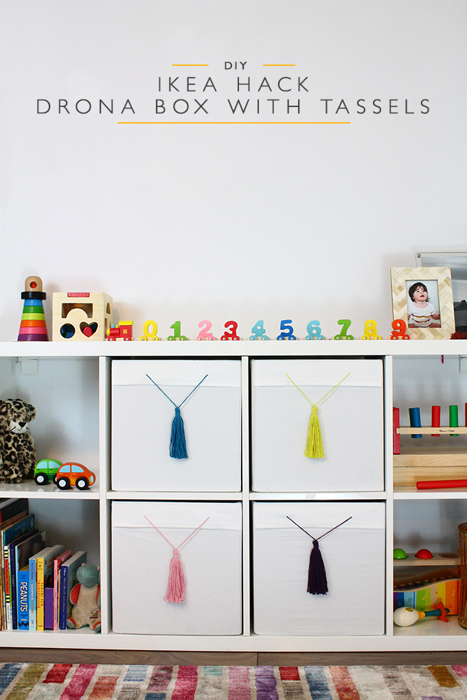 IKEA Hack Drona Boxes with Tassels | Squirrelly Minds