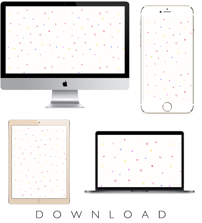 Plain white background with a mac desktop, iphone, ipad and mac laptop displaying Watercolor Hearts Valentine's Day Wallpaper with the text Download on the bottom