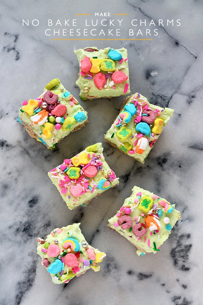 No Bake Lucky Charms Cheesecake Bars - Squirrelly Minds