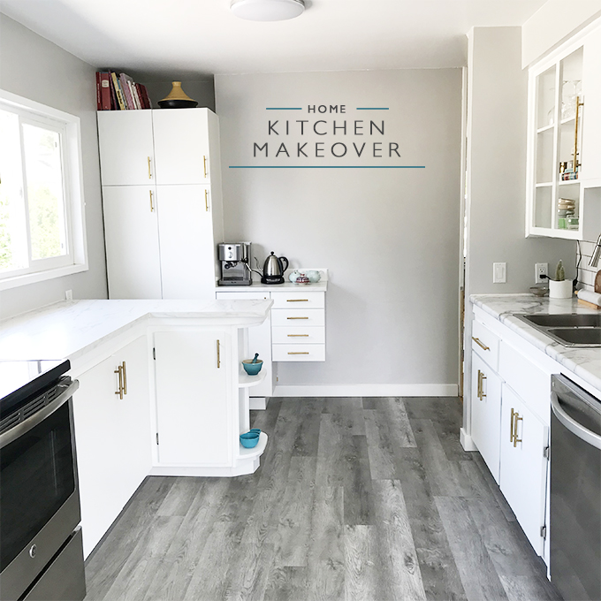 Grey and White Kitchen Makeover - Squirrelly Minds