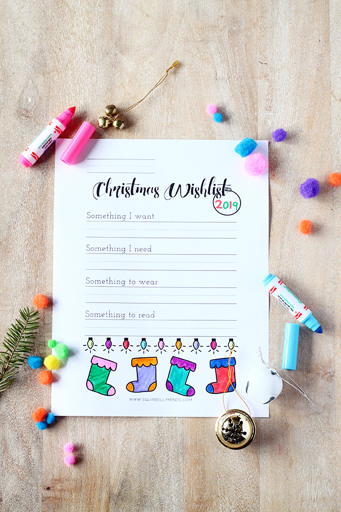 black and white christmas wishlist colouring sheet printable