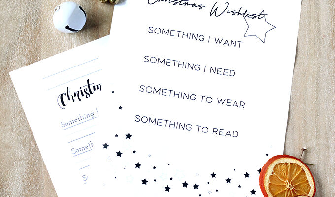 Printable 4 Gift Rule Christmas Wishlist