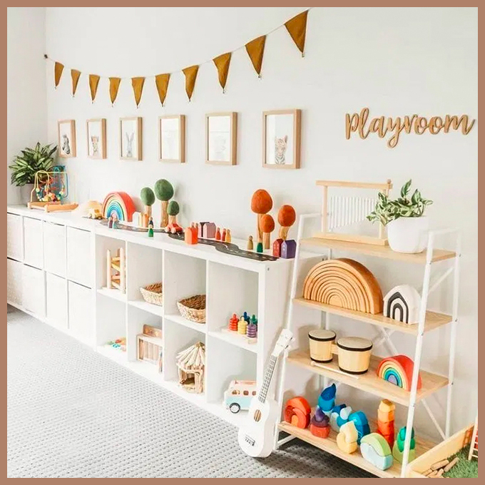 white furniture and walls with wood and rainbow toys
