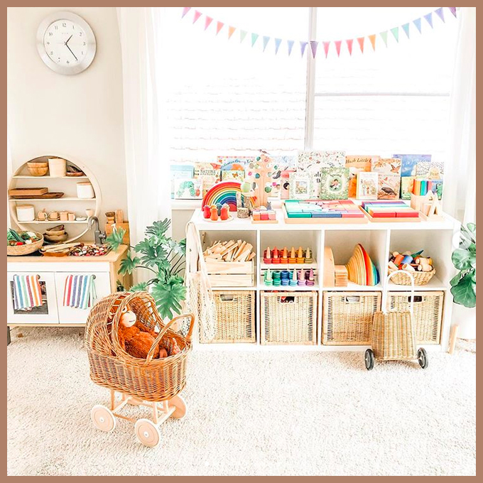 Montessori and Waldorf Playroom Inspiration - Natural and colourful playroom by @where_learning_meets_play on Squirrelly Minds