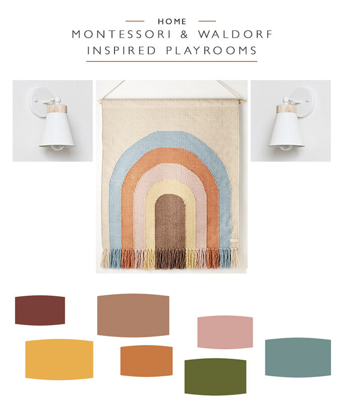 A rainbow tapestry hanging between two white wall sconces with a colour palette of yellow, pink, orange, green, blue and red below