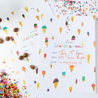 Print | Printable Ice Cream Party Invitation