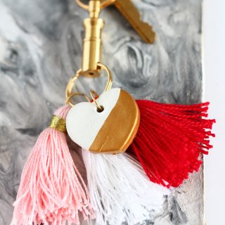 DIY | Gold Dipped Clay Heart Keychain