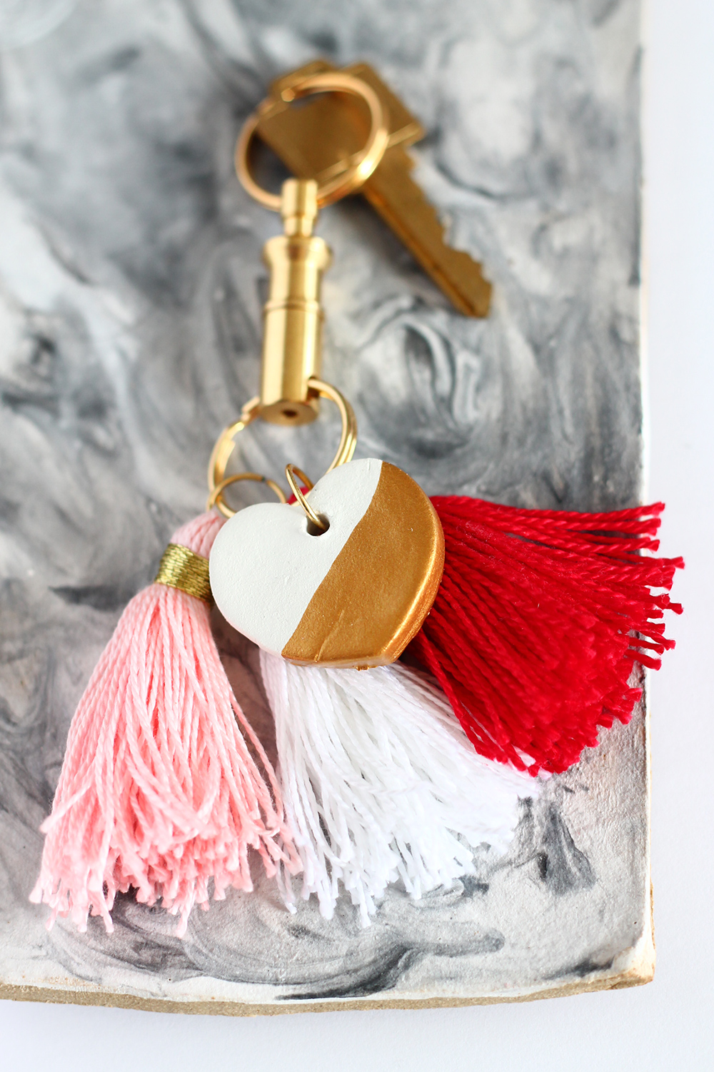 DIY Gold Dipped Clay Heart Keychain Squirrelly Minds